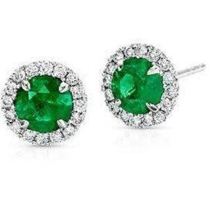 Jewelry - Round cut emerald with halo diamond stud earring w